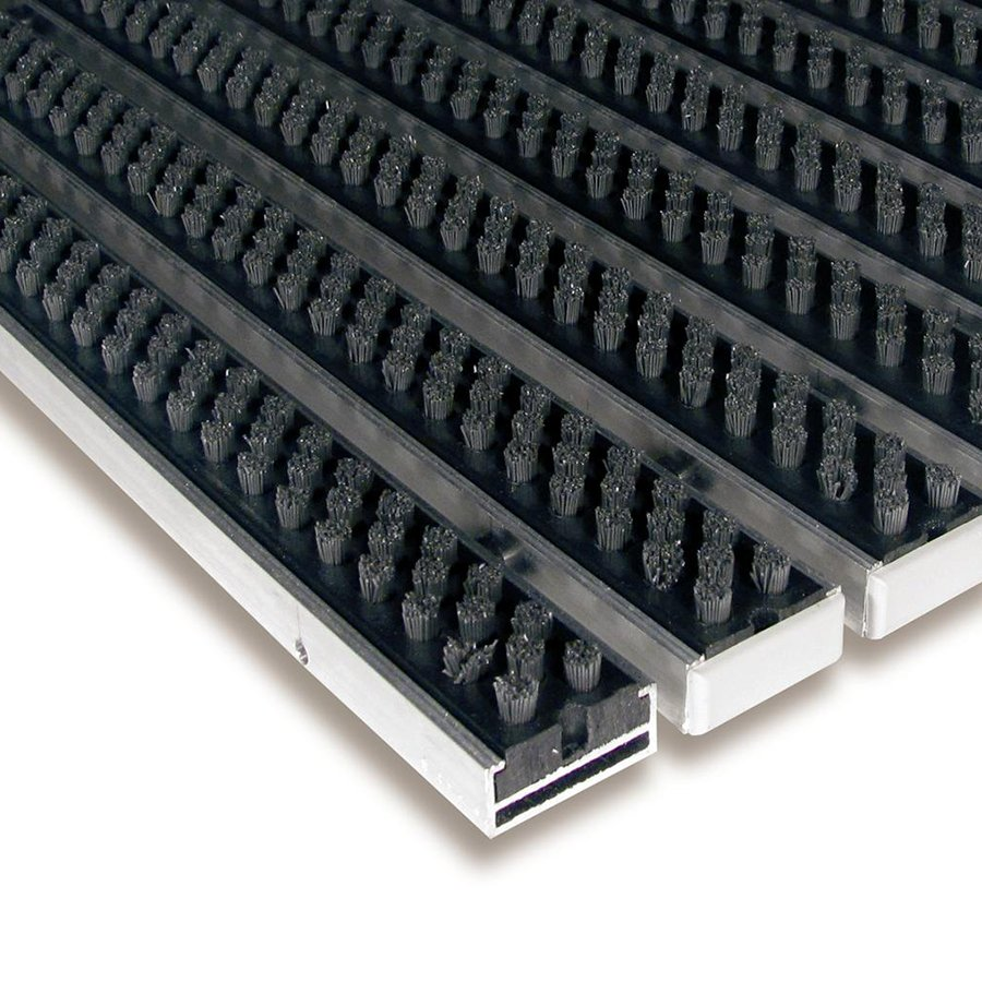 Šedá hliníková čistící kartáčová venkovní vstupní rohož Alu Super, FLOMAT - délka 100 cm, šířka 100 cm a výška 1,7 cm