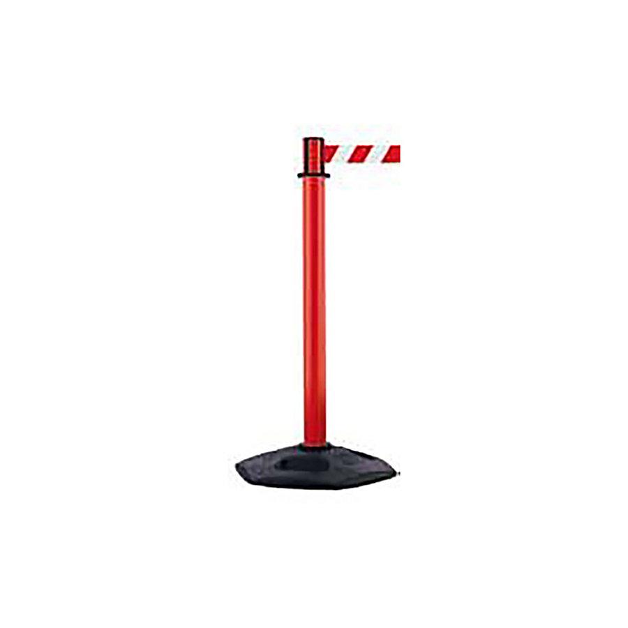 Červený plastový vymezovací sloupek se samonavíjecím pásem - výška 97,5 cm