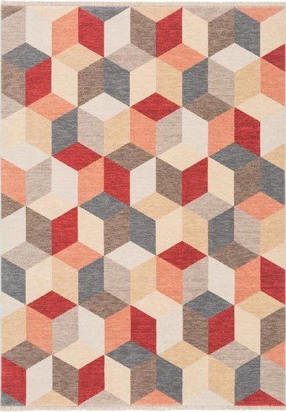 Červený moderní kusový koberec Cube - délka 345 cm a šířka 300 cm