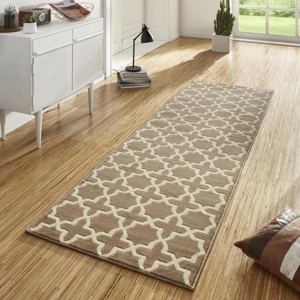 Béžový kusový moderní koberec běhoun Basic - délka 400 cm a šířka 80 cm