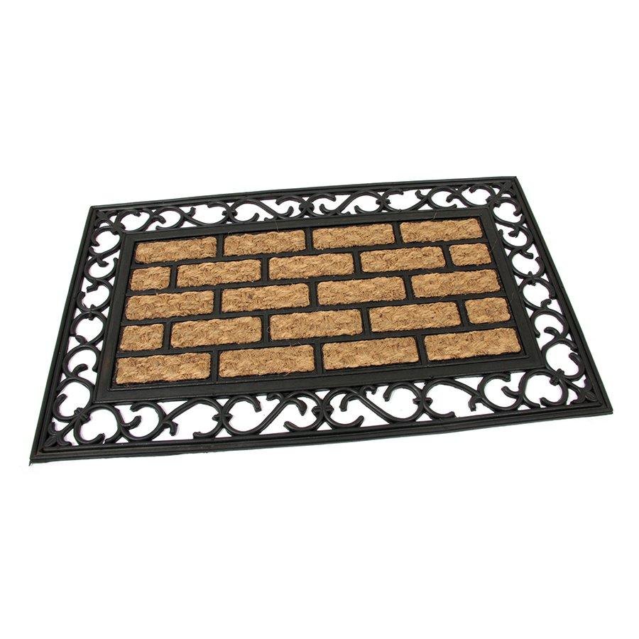 Kokosová čistící venkovní vstupní rohož Bricks - Deco, FLOMAT - délka 45 cm, šířka 75 cm a výška 0,9 cm