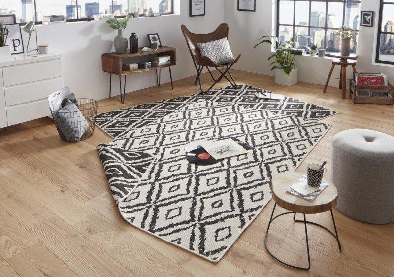 Béžovo-černý kusový oboustranný koberec běhoun - délka 350 cm a šířka 80 cm