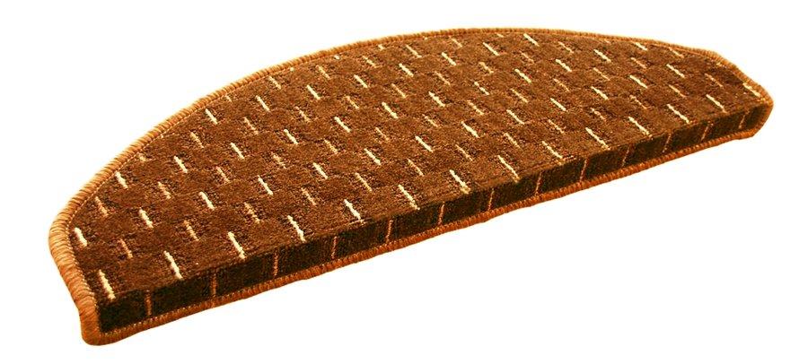 Hnědý kobercový půlkruhový nášlap na schody Odessa - délka 65 cm a šířka 28 cm