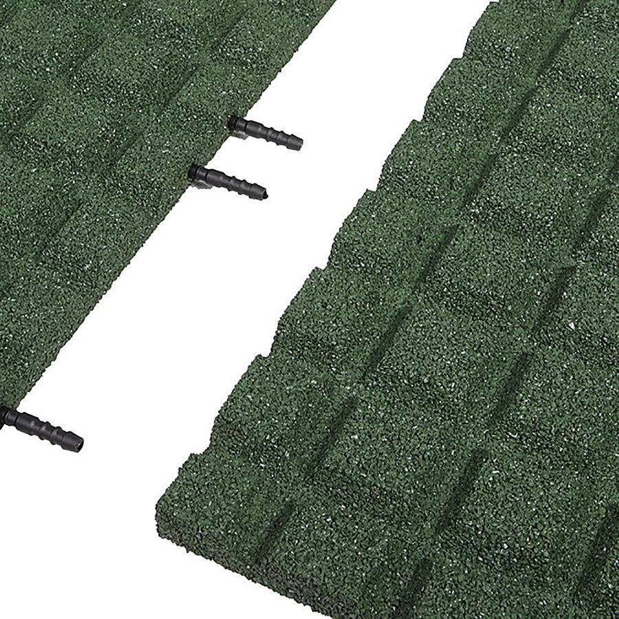 Zelená gumová krajová dopadová dlaždice (V30/R15) FLOMA - délka 50 cm, šířka 25 cm a výška 3 cm