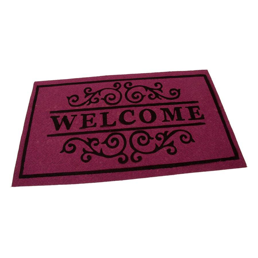 Vínová textilní vstupní čistící vnitřní rohož Welcome - Deco, FLOMA - délka 45 cm, šířka 75 cm a výška 0,3 cm
