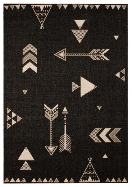 Černý dětský kusový moderní koberec Vini - délka 170 cm a šířka 120 cm