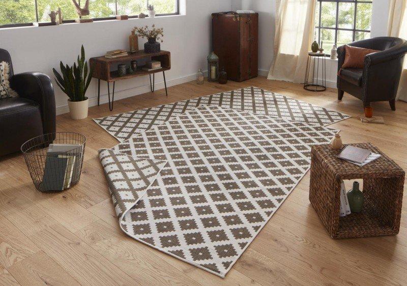 Hnědý moderní oboustranný kusový koberec běhoun Twin-Wendeteppiche - délka 350 cm a šířka 80 cm