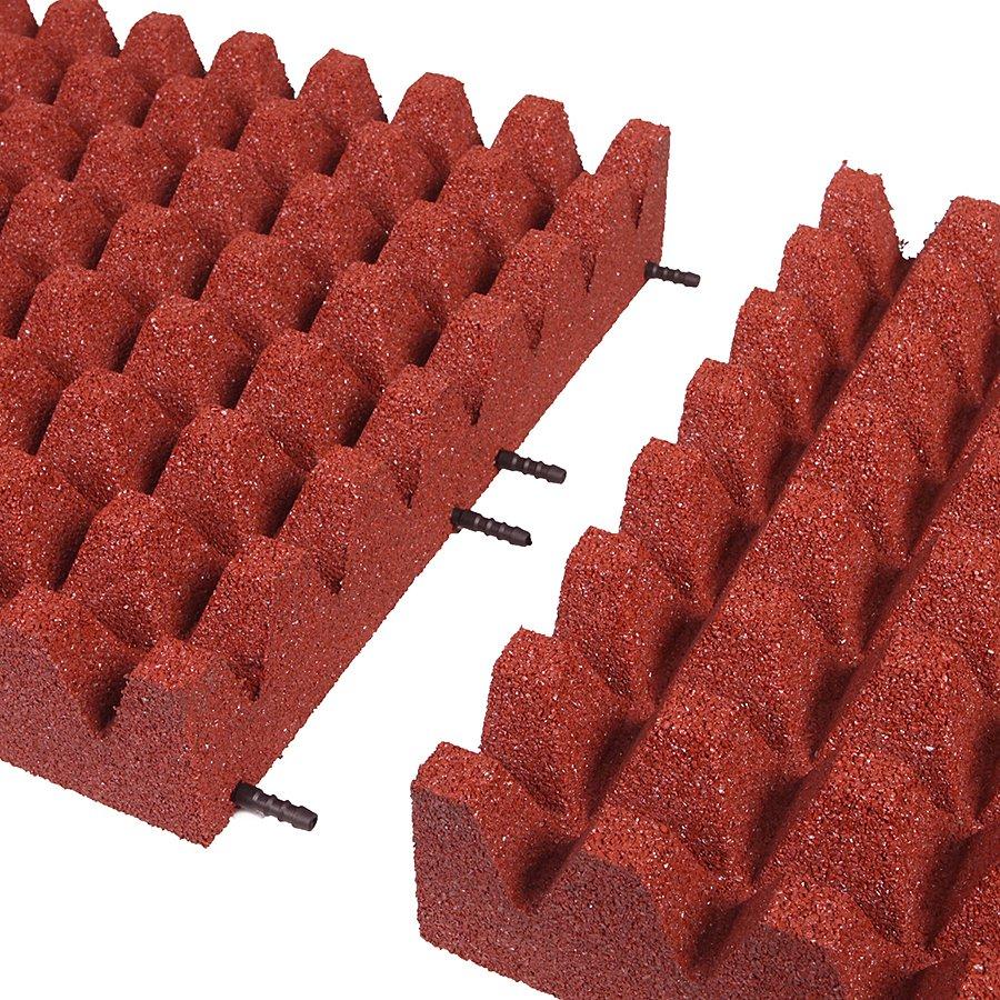 Červená gumová dlaždice (V100/R50) - délka 50 cm, šířka 50 cm a výška 10 cm