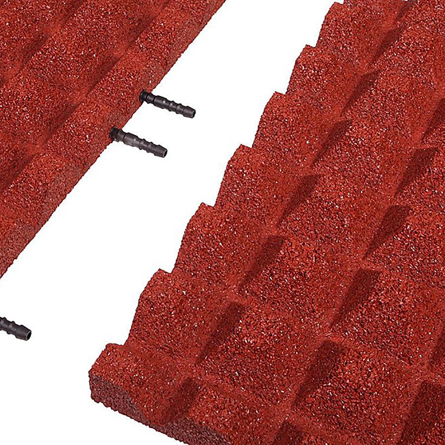 Červená gumová krajová dopadová dlaždice (V40/R28) FLOMA - délka 50 cm, šířka 25 cm a výška 4 cm