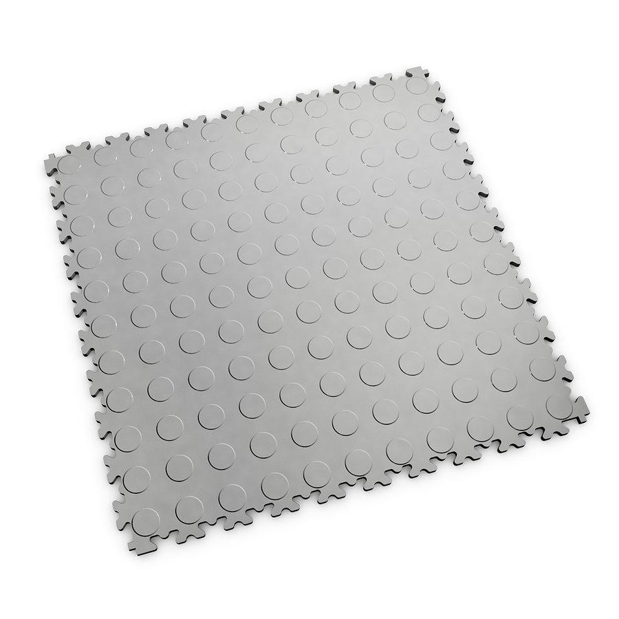 Šedá vinylová plastová zátěžová dlaždice Industry 2040 (penízky), Fortelock - délka 51 cm, šířka 51 cm a výška 0,7 cm