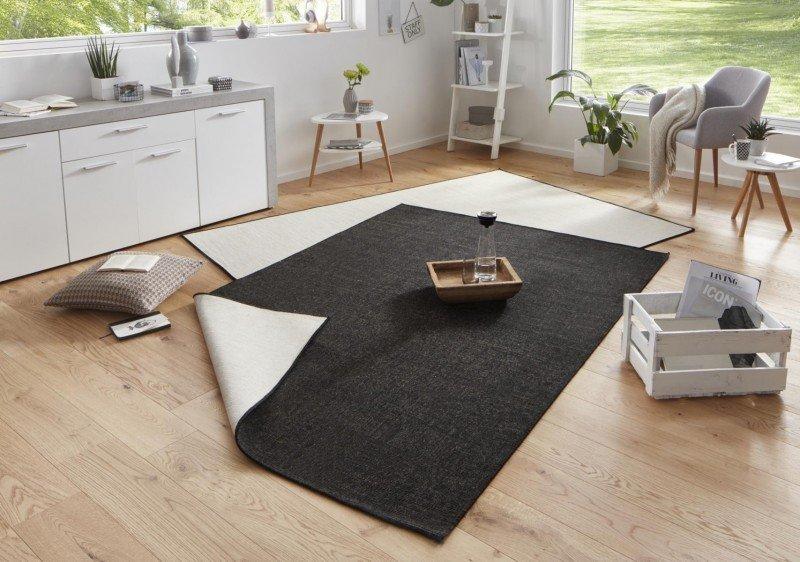 Černý kusový oboustranný koberec běhoun Twin-Wendeteppiche - délka 350 cm a šířka 80 cm