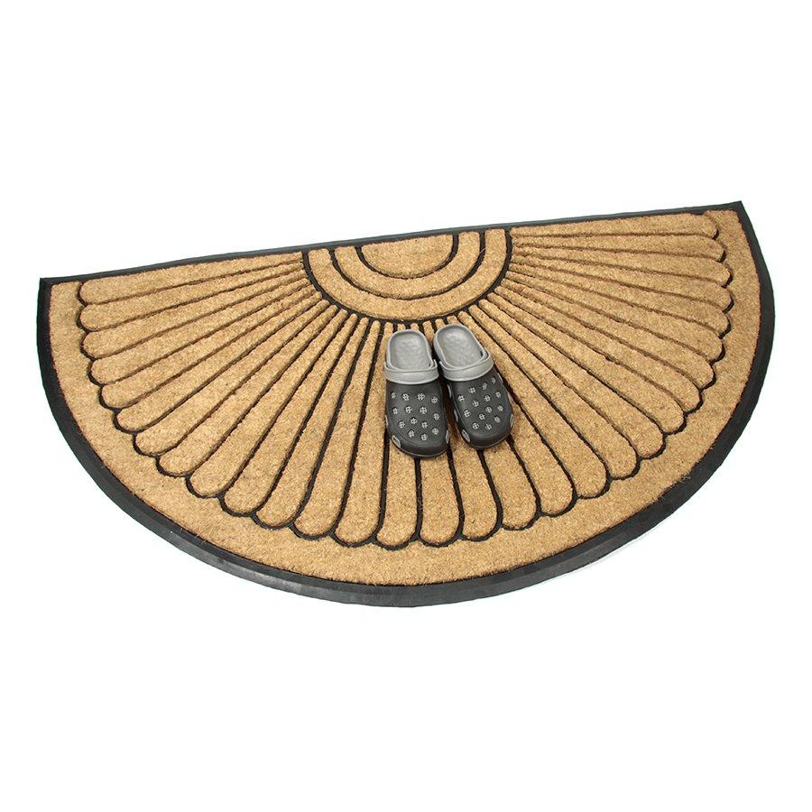 Gumová kokosová čistící venkovní vstupní půlkruhová rohož Flower, FLOMAT - délka 90 cm, šířka 180 cm a výška 2,2 cm