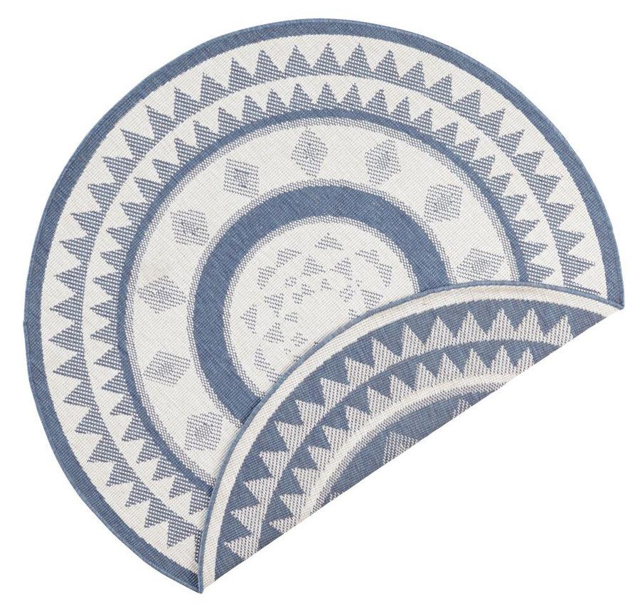 Modrý oboustranný moderní kulatý koberec Twin-Supreme, Jamaica