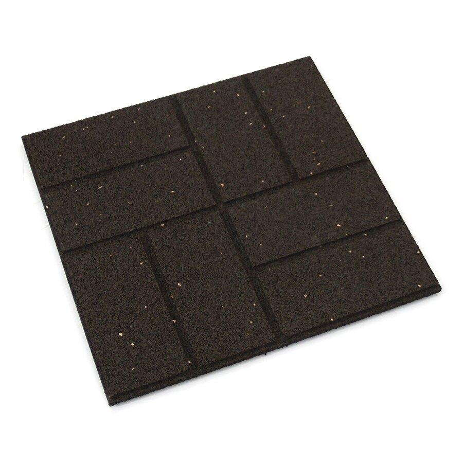 Hnědá gumová terasová dlažba FLOMA Cobblestone - 40 x 40 x 1,5 cm