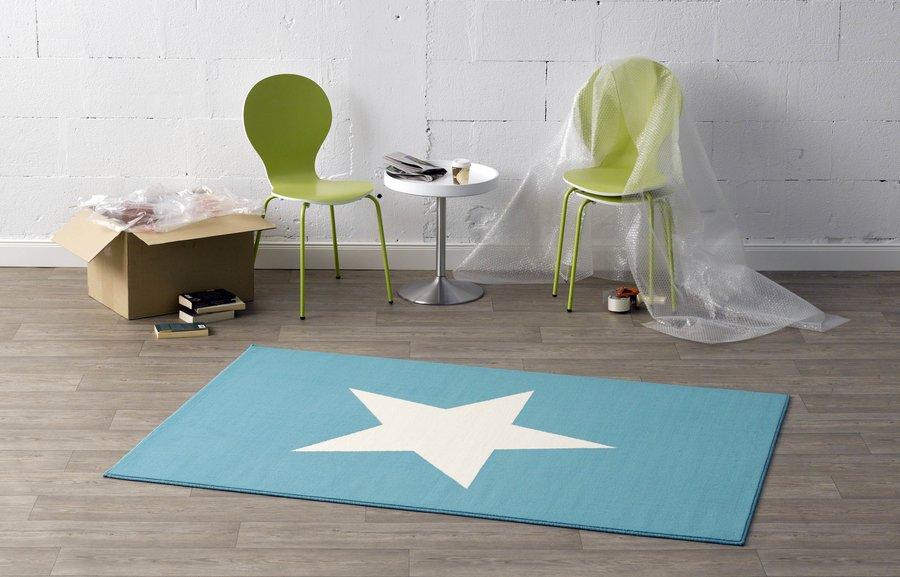 Bílo-modrý bytový kusový dětský moderní obdélníkový koberec City Mix - délka 200 cm a šířka 140 cm