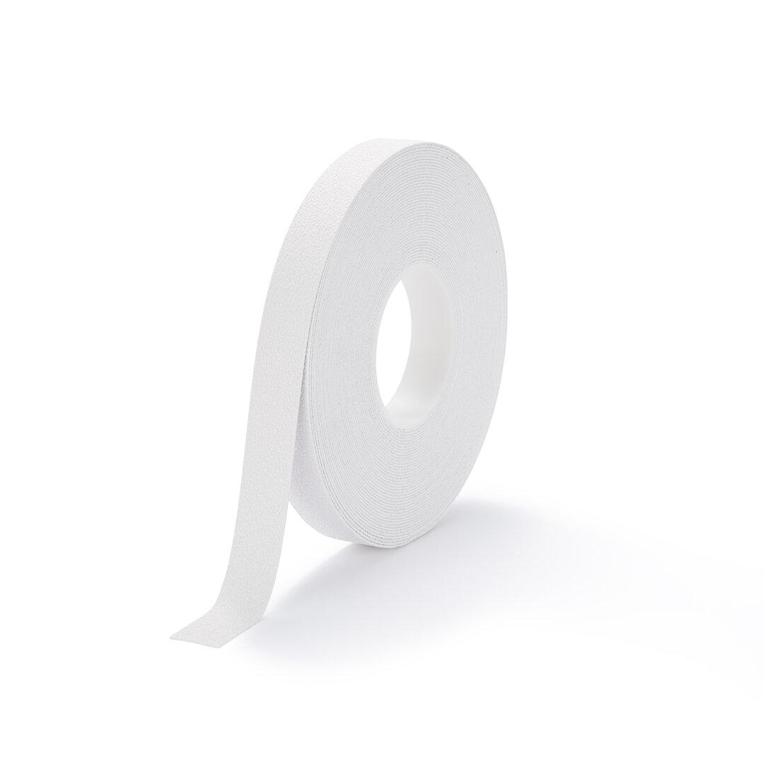 Bílá plastová protiskluzová voděodolná podlahová páska - 18,3 m x 2,5 cm x 1,3 mm