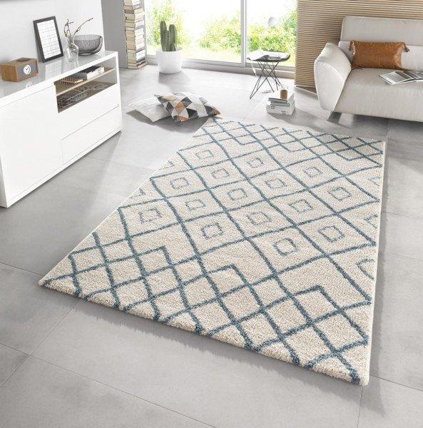 Bílo-modrý kusový moderní koberec Eternal