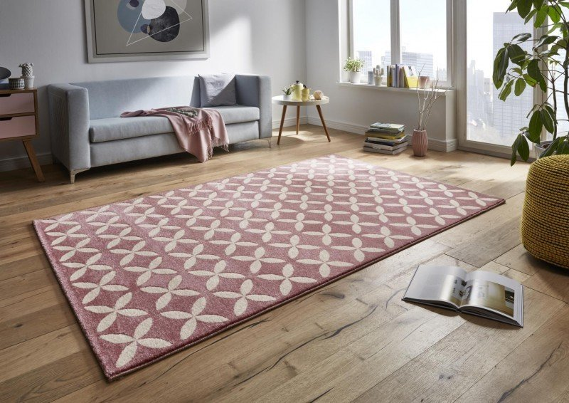 Růžový kusový moderní koberec Tifany - délka 150 cm a šířka 80 cm