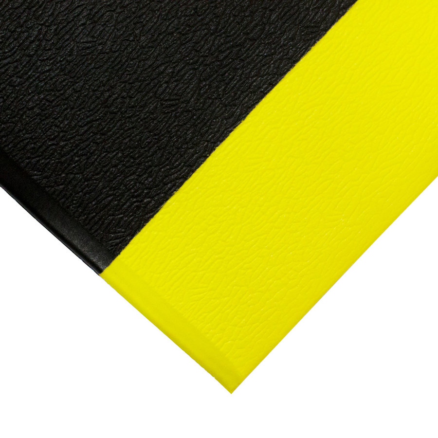 Černo-žlutá gumová protiskluzová protiúnavová průmyslová rohož - výška 0,9 cm