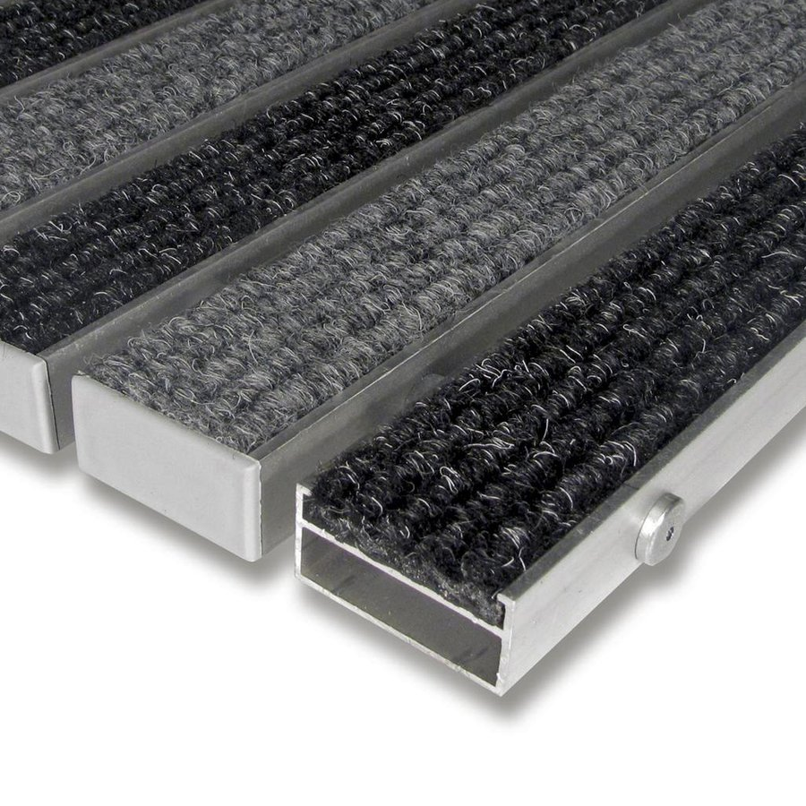 Textilní hliníková čistící vnitřní vstupní rohož Alu Wide, FLOMAT - délka 100 cm, šířka 100 cm a výška 2,2 cm