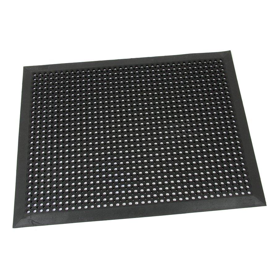 Černá gumová vstupní venkovní čistící rohož s obvodovou hranou Octomat Mini - délka 70 cm, šířka 90 cm a výška 1,4 cm