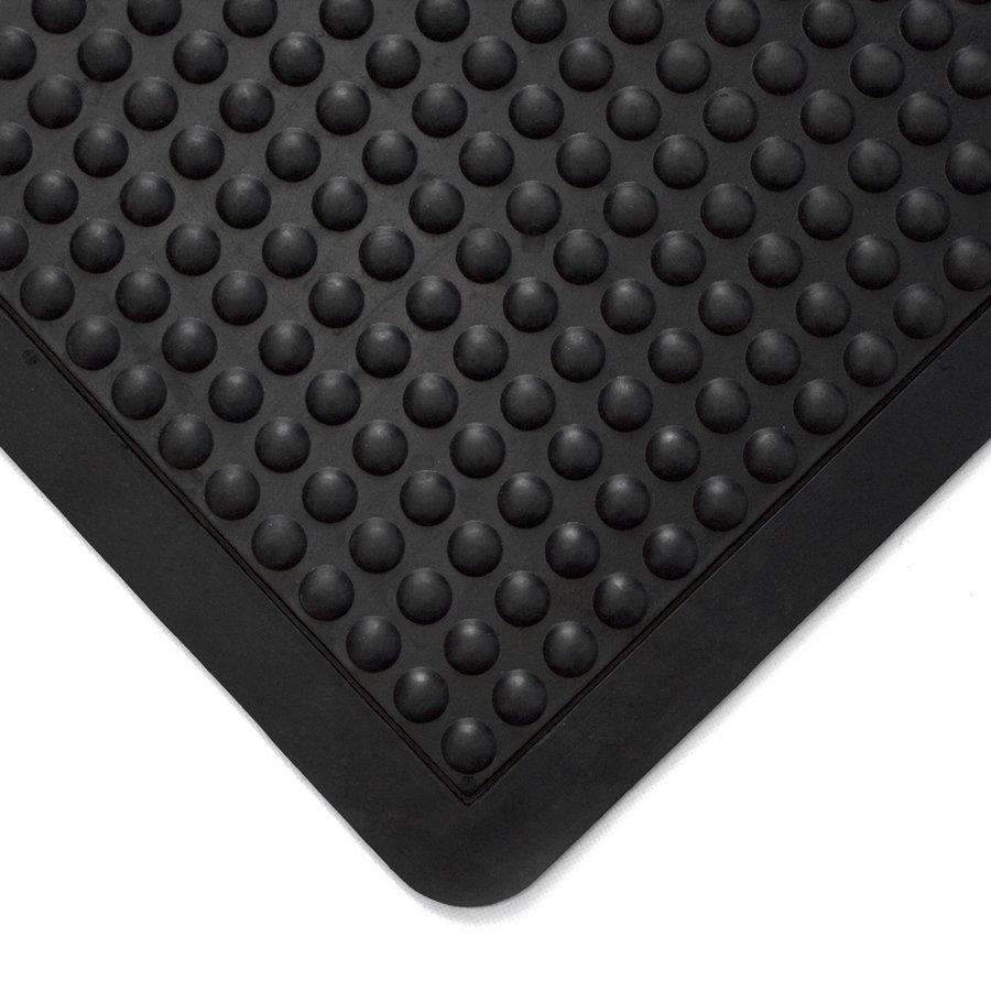 Černá gumová protiúnavová průmyslová modulární rohož - délka 90 cm, šířka 60 cm a výška 1,4 cm
