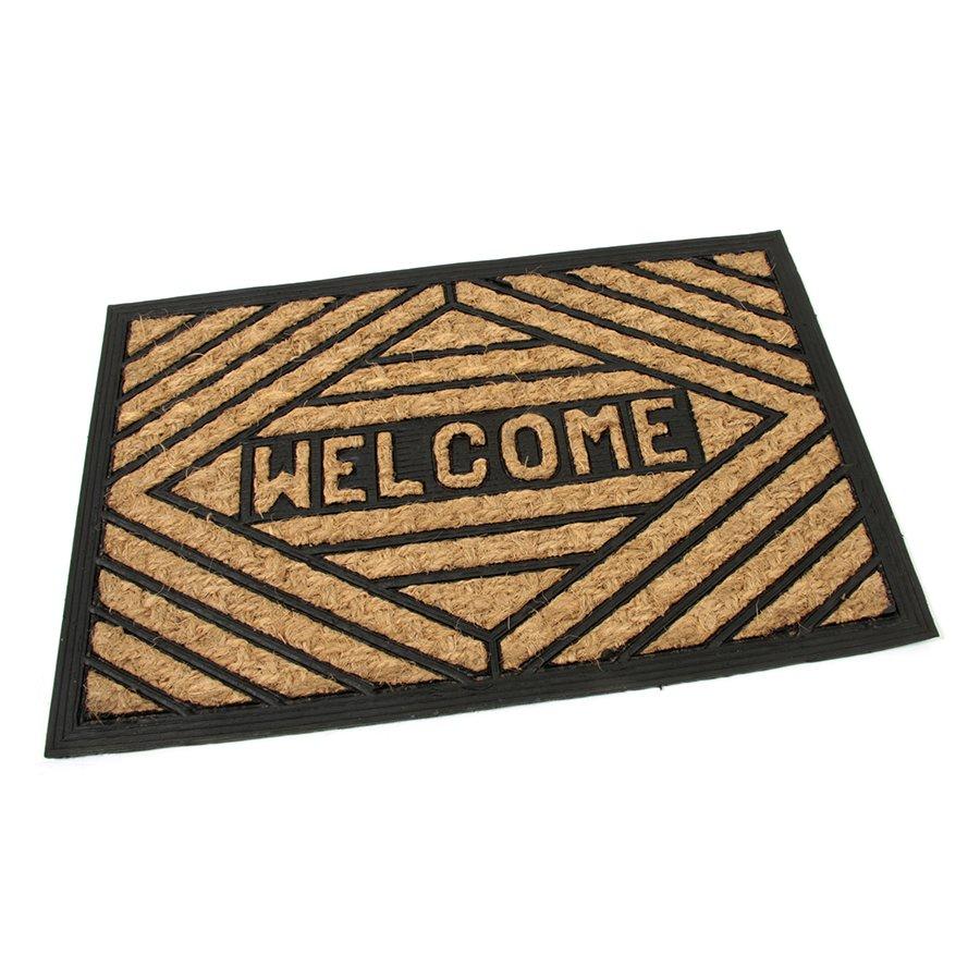 Kokosová čistící venkovní vstupní rohož Welcome - Rectangle, FLOMA - délka 40 cm, šířka 60 cm a výška 0,8 cm