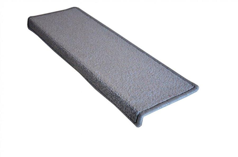 Šedý kobercový nášlap na schody Eton - délka 65 cm a šířka 24 cm