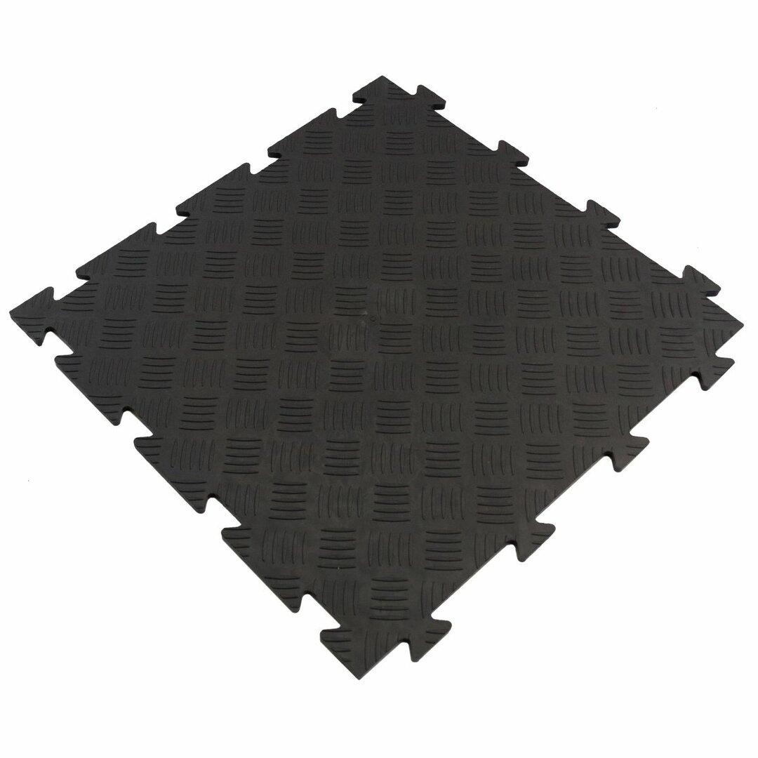Černá PVC vinylová zátěžová puzzle protiskluzová dlaždice Tenax - 50 x 50 x 0,8 cm