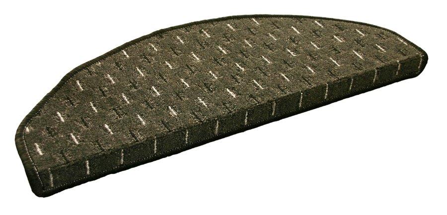 Šedý kobercový půlkruhový nášlap na schody Odessa - délka 28 cm a šířka 65 cm