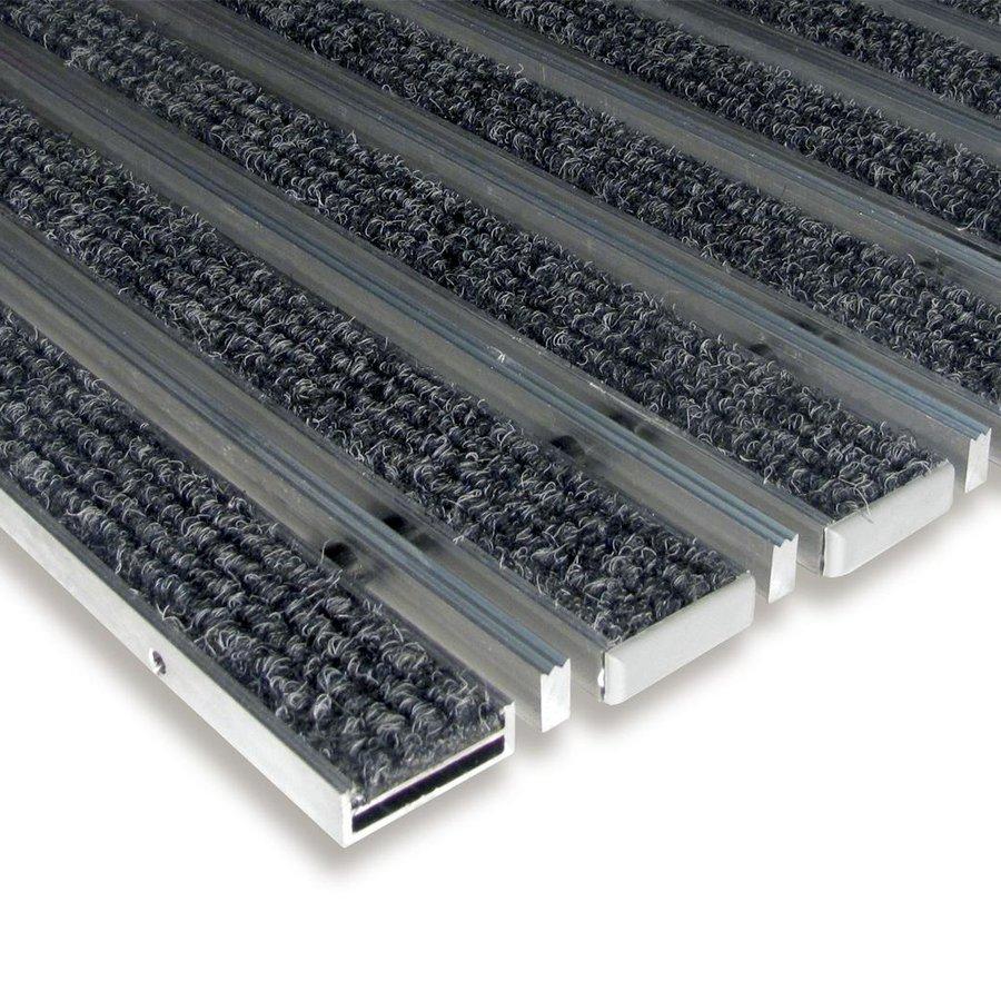 Textilní hliníková čistící kartáčová vnitřní vstupní rohož Alu Low Extra, FLOMAT - délka 100 cm, šířka 100 cm a výška 1 cm