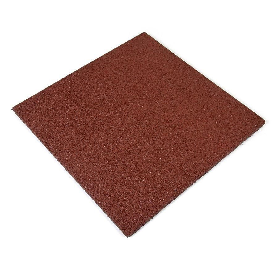 Červená gumová dlaždice - délka 50 cm, šířka 50 cm a výška 2,5 cm