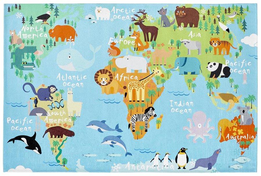 Modrý dětský kusový koberec Torino Kids - délka 120 cm a šířka 80 cm