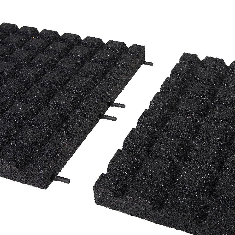 Černá gumová dopadová dlaždice (V50/R15) FLOMA - délka 100 cm, šířka 100 cm a výška 5 cm