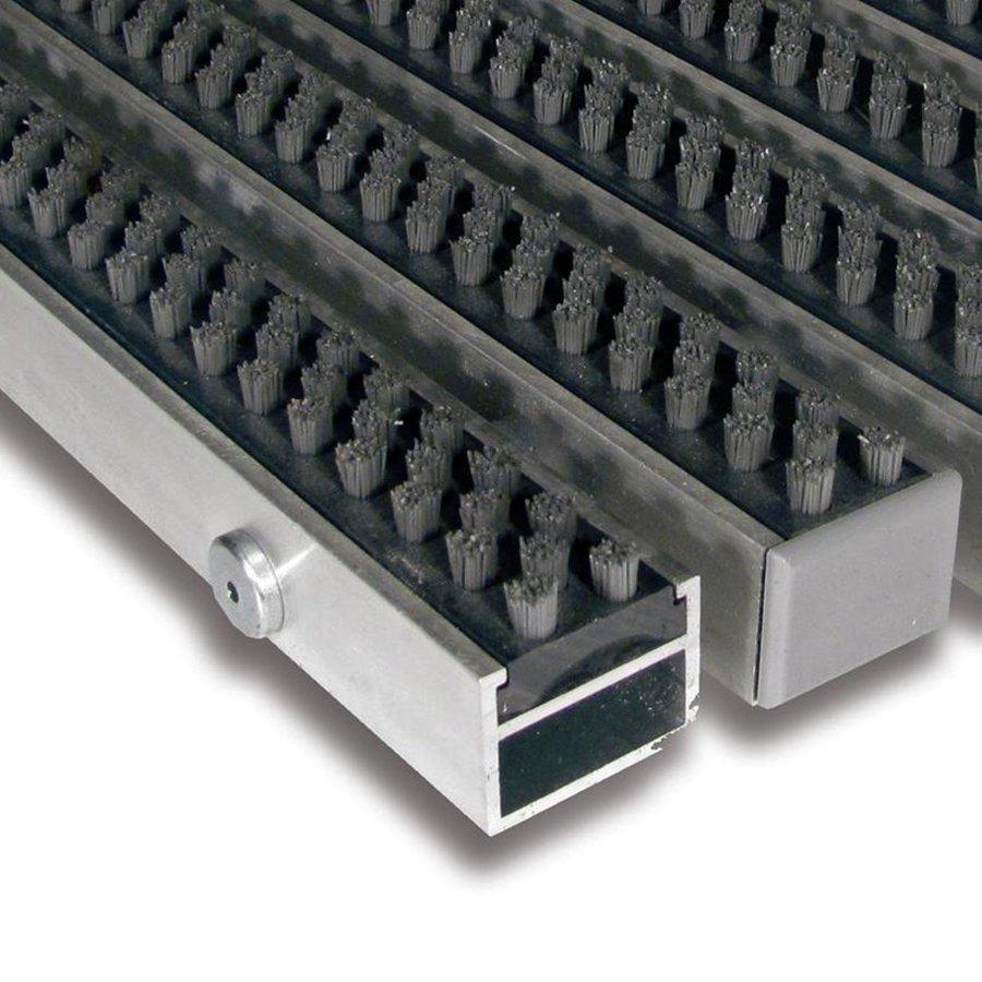 Šedá hliníková čistící vnitřní vstupní rohož Alu Super - délka 90 cm, šířka 60 cm a výška 2,7 cm