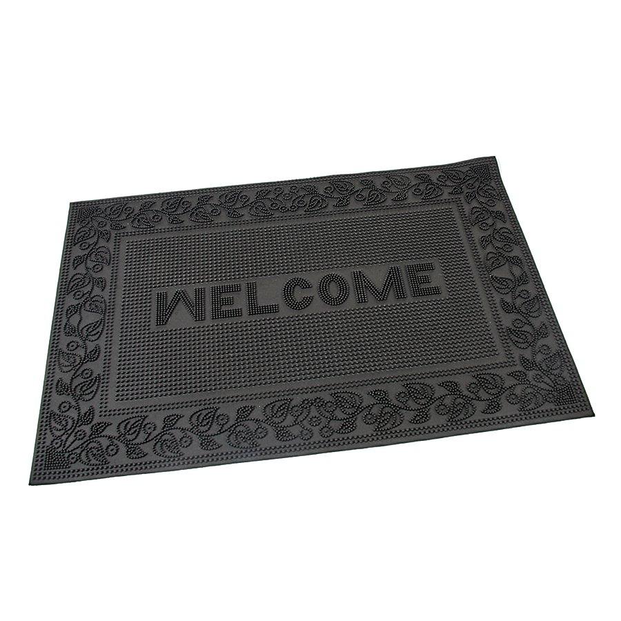 Gumová čistící kartáčová venkovní vstupní rohož Welcome - Leaves, FLOMAT - délka 60 cm, šířka 40 cm a výška 0,6 cm