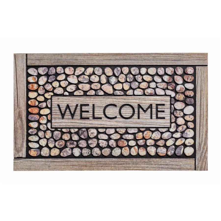 Venkovní vstupní čistící rohož Residence, Welcome Framed Pebbles, FLOMA - délka 45 cm, šířka 75 cm a výška 0,9 cm