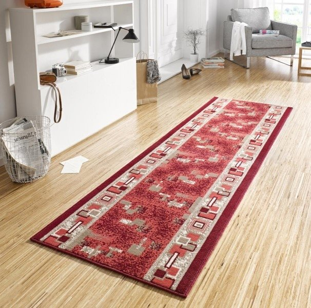 Červený moderní kusový koberec běhoun Basic - délka 400 cm a šířka 80 cm