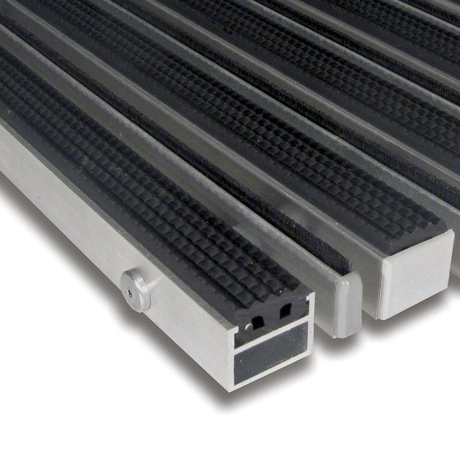 Gumová hliníková kartáčová venkovní vstupní rohož Alu Extra, FLOMAT - výška 2,7 cm