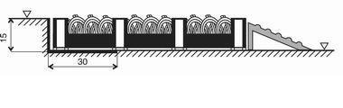 Šedá plastová vstupní vnitřní čistící rohož - délka 20,5 cm, šířka 20,5 cm a výška 1,6 cm