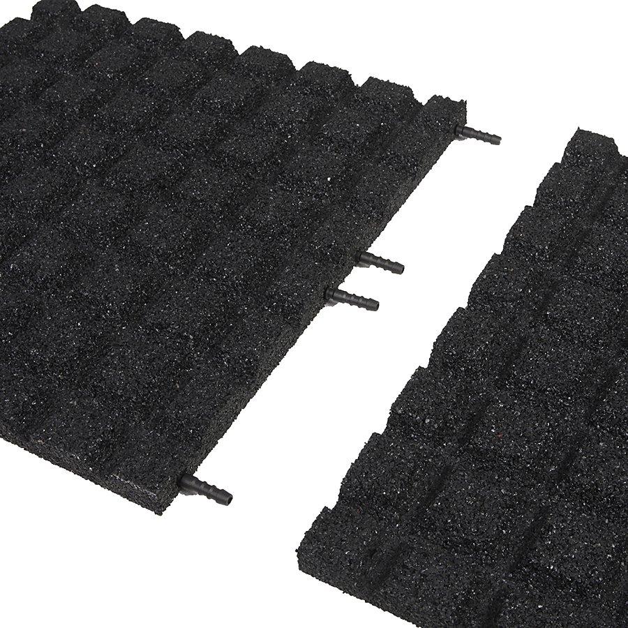 Černá gumová dopadová dlaždice (V30/R15) FLOMA - délka 50 cm, šířka 50 cm a výška 3 cm