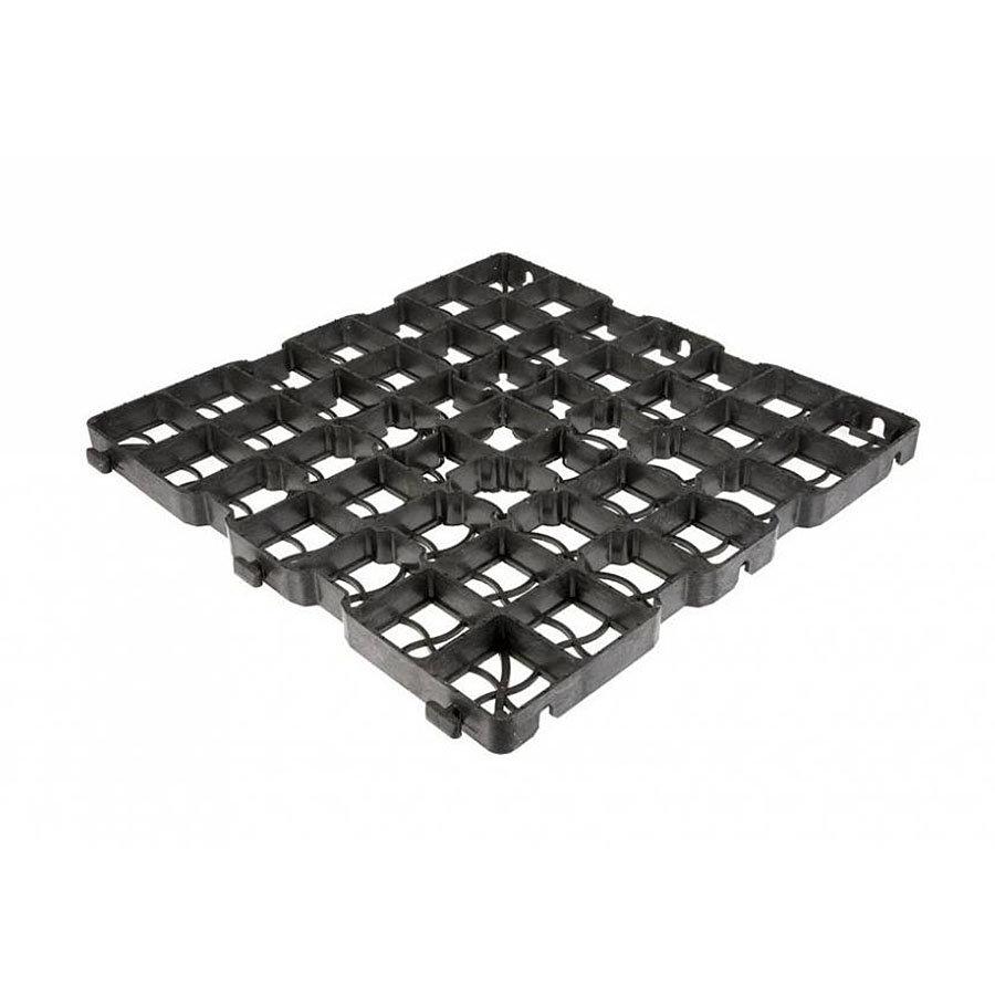 Černá plastová zátěžová zatravňovací dlažba GE30 - délka 50 cm, šířka 50 cm a výška 3 cm