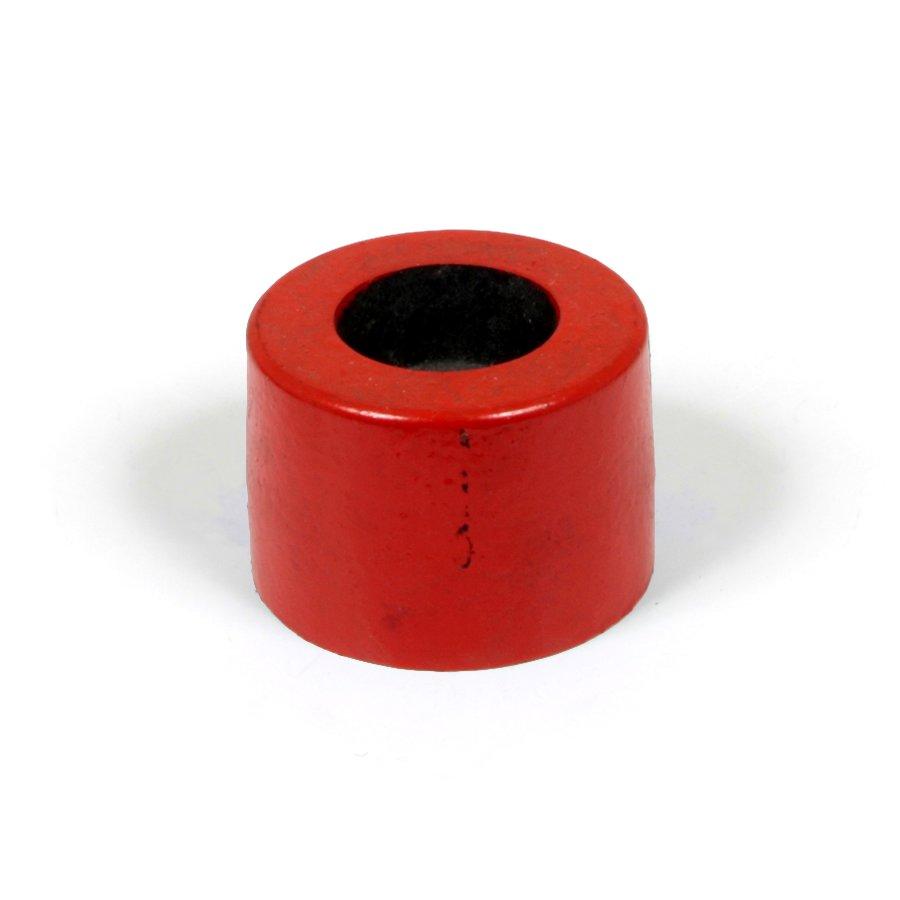 """Červená plastová koncovka """"samice"""" pro silniční obrubníky - délka 14,5 cm, šířka 14,5 cm a výška 10 cm"""