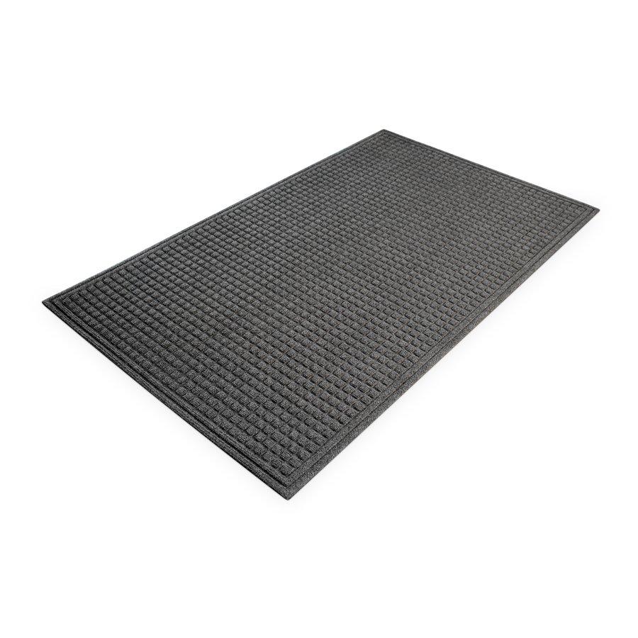 Šedá plastová vstupní vnitřní čistící rohož - délka 90 cm, šířka 150 cm a výška 1 cm