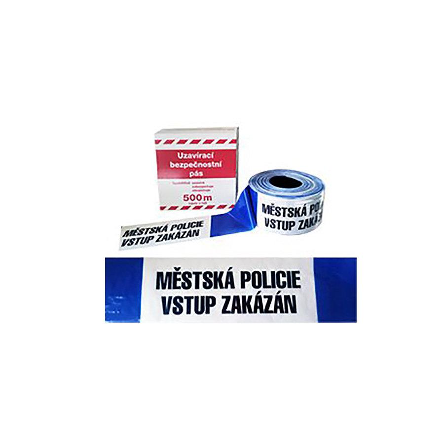 """Modro-bílá vytyčovací páska """"MĚSTSKÁ POLICIE - VSTUP ZAKÁZÁN"""" - délka 500 m a šířka 8 cm"""
