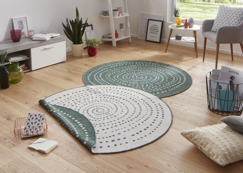 Zelený kusový oboustranný moderní kulatý koberec Twin-Wendeteppiche