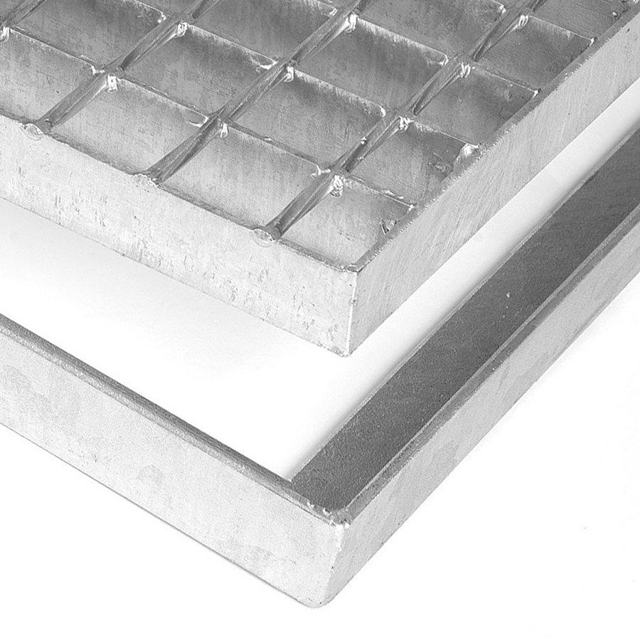 Kovová ocelová čistící venkovní vstupní rohož ze svařovaných podlahových roštů bez gumy bez pracen Galva, FLOMAT - výška 3,5 cm