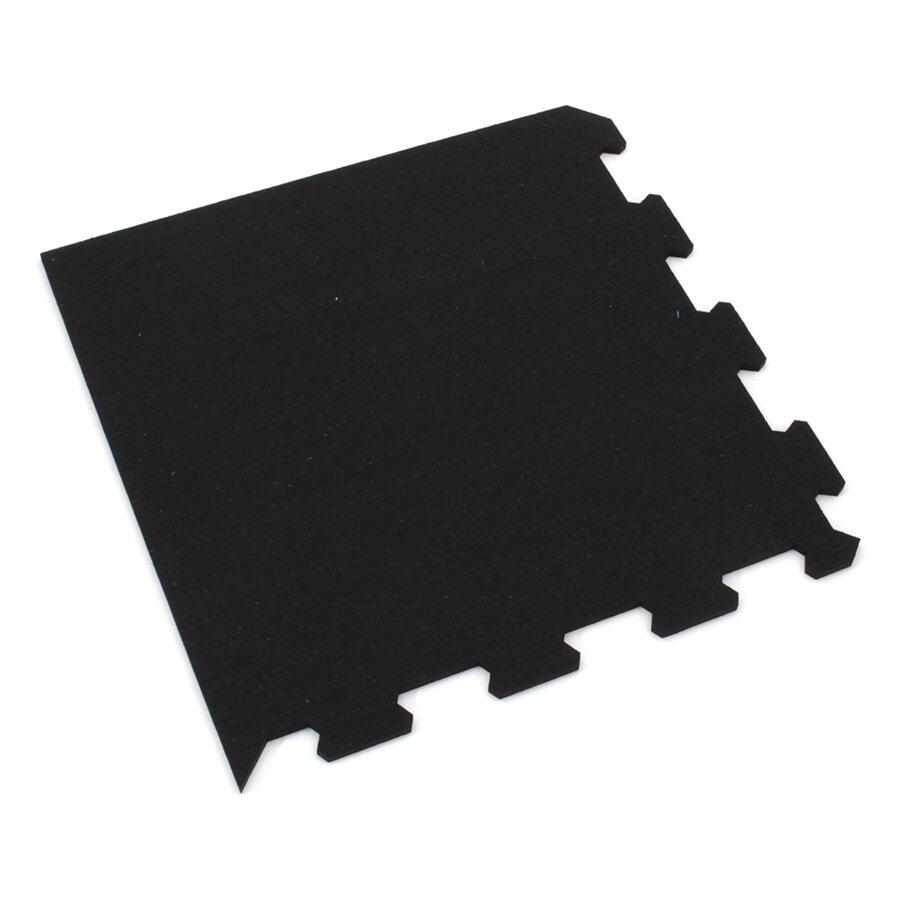 Černá gumová modulová puzzle dlažba (roh) FLOMA FitFlo SF1050 - 47,8 x 47,8 x 0,8 cm