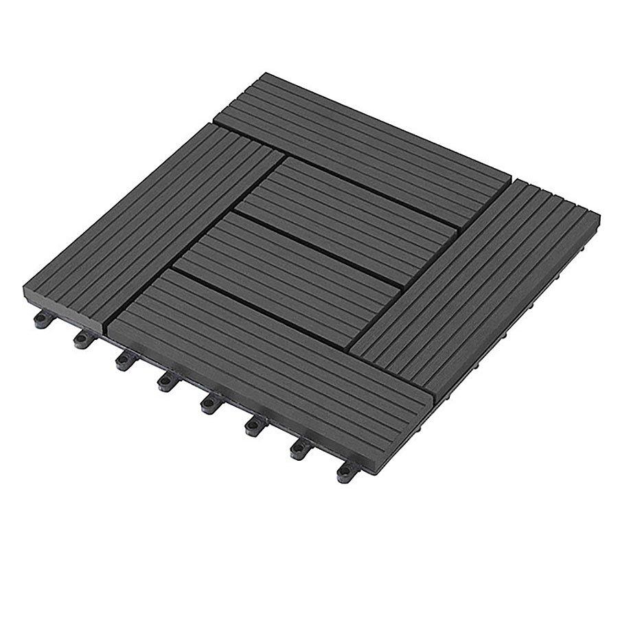 Černá dřevoplastová WPC terasová dlaždice Palmyra - délka 30 cm, šířka 30 cm a výška 2,3 cm