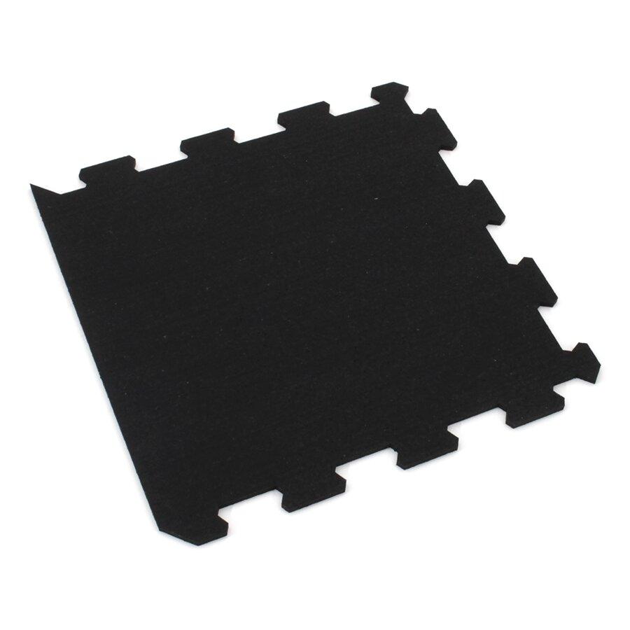 Černá gumová modulová puzzle dlažba (okraj) FLOMA FitFlo SF1050 - 47,8 x 47,8 x 0,8 cm